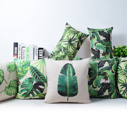 Wholesale Banana Cushion Pillow - tropical rainforest cushion cover green jungle plant throw pillow case banana leaf leaves cojines home decor