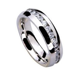 2019 multa jóia de aço esterlina Quente! Chapeamento de 925 Anel de Prata Esterlina Fine Fashion Crystal Ring Mulheres Homens Presente de Aço Inoxidável Jóias Anéis de Dedo multa jóia de aço esterlina barato