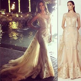 Wholesale Cheap Light For Chrismas - 2016 Gold Wedding Formal Evening Dresses with Short Sleeves Over Skirts Vintage Lace Sash Cheap Celebrity Prom Dresses Gowns for Pageant