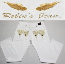 Wholesale Embroidery Twill - 2016 New robin jeans for men Slim denim Straight in Jeans cowboy high fashion designer famous brand mens white american flag jeans Plus size