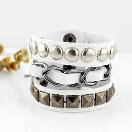 Wholesale Spikes Bracelet For Men - Hip Hop Rock Style Jewelry Black White Pu Leather Spikes Wrap Bracelets Bangles for Men and Women
