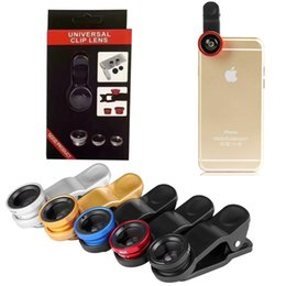 Wholesale Zoom Cell Phone - 3 In 1 Universal Metal Clip Camera cell Phone Lens Fish Eye + Macro + Wide Angle For iPhone X Samsung Galaxy Note 8 S8 OTH669