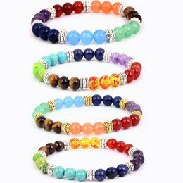 Wholesale Precious China - 4 Styles Semi Precious Stone Bracelet Chakra Ctystal Healing Balancing Reiki Yoga Jewelry Free Shiipng Christmas Gift B126S