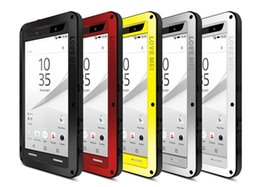 Wholesale red gorilla - Sony Xperia Z5 LOVE MEI Case Powerful Metal Aluminum Tempered Gorilla Glass Case Water Dirt Shock Proof With Retail Package 1pcs