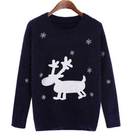 Wholesale Women Sweater Deer - Wholesale- Women 's pullover European American Christmas sweater women snowflakes deer flocking embroidery sweaters jacket vestidos MMY040