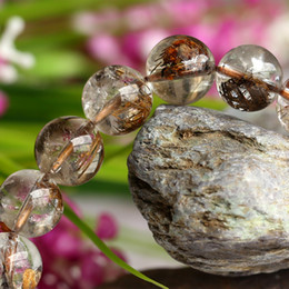 Wholesale Finish Coffee - Clear Natural Genuine Coffee Mica Titanium Hair Needle Rutile Quartz Rutilated Finished Stretch Bracelet Round Jewelry beads 10mm 04091