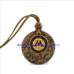 Wholesale Logo Wood Jewelry Chain - New Design Wood Necklace Magic Logo Necklace Harry Potter Jewelry Glass Cabochon Dome Pendant WL-0023