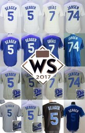 Wholesale Royal Jerseys - Los Angeles #5 Corey Seager #7 Julio Urias #74 Kenley Jansen white all star gray royal blue stitched 2017 WS Patch Jerseys