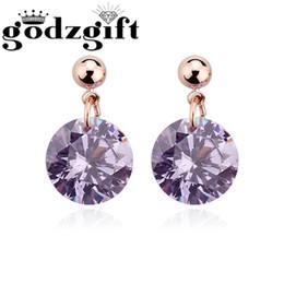 Wholesale Fantasy Studs - Women Earrings Rose Fantasy Regent Violet Crystal earrings Design Luxury Stud Earring For Women Wholesale Jewelry Godzgift JE3028