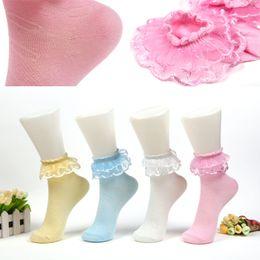 Calcetines con volantes de las señoras online-Mejores volantes de encaje vintage con volantes Calcetines cortos de las señoras princesa Girl medias