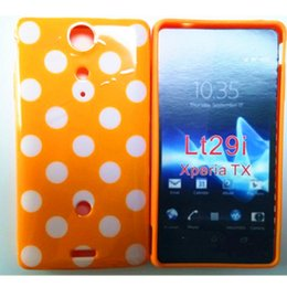 Wholesale Tx Lt29i - Wholesale Hot Point Colorful Polka Dots Soft TPU Phone Cover Case For Sony Xperia TX LT29i Back Skin Cover Phone Case Free