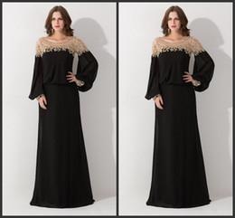 Wholesale long loose sleeve gold dress - 2018 New Hot Sale Black Loose Scoop Neck Dubai Kaftan Evening Dresses Long Sleeve Sequined Chiffon Formal Party Gowns Vestido De Festa 144