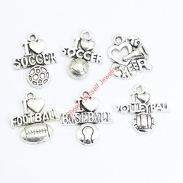 Wholesale tibetan mixed silver charms wholesale - 18pcs Mixed Tibetan Silver Plated Football Soccer Baseball Charms Pendants for Jewelry Making DIY Handmade Craft Jewelry making DIY