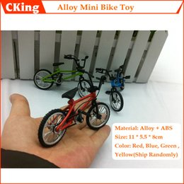 Wholesale Bicycle Diecast Toys - Wholesale-(10PCS LOT) Aluminum Alloy + ABS Mode Bicycle Toy Mini Finger Bicycle Toy Diecast Model Bicycle Toy Red Green Blue Free Shipping