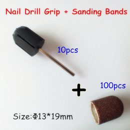 Wholesale Rubber Nail Art - Wholesale-13*19mm 100pcs nail Sanding Bands cap +10pcs Nail Art Salon Rubber Grips handle Drill Accessories For Nail Drill Machine