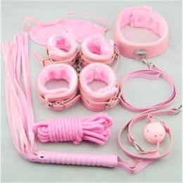 Wholesale Sex Toys Gifts - 8 in 1 Pink Plush BDSM Bondage Kits Sets Adult Sex Toys for Couple Sexual Bondage Restraint Kits Valentines Gifts BJ2303