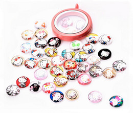 Wholesale Mixed Glass Cabochons - 20PCS lot Mix Styles 10mm DIY Cartoon Cat Round Floating Charm, Glass Dome Cabochons Flat Back Charms For Glass Locket