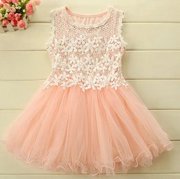 Wholesale Hooded Vest Dress - Girls Dresses Girl Lace Floral Hollow Princess Dress 2015 Summer Kids Clothes Flower Tulle Sleeveless Vest Dressy Purple Green Pink I2942
