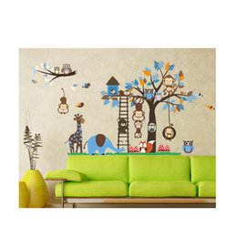 Wholesale Decal For Children Room - S5Q Diy Animal Kids Room Monkey Cartoon Decals Decorations Children Sticker 1215 AAAFKH