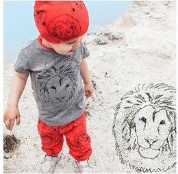 Wholesale Kids Pants Trouser Monkey - 2016 INS Boys Kids Clothes Sets Cotton Monkey T-shirts Set Boy Children Enfant Clothing Suits Cute Pants Suit Trouser Outfits Clothes