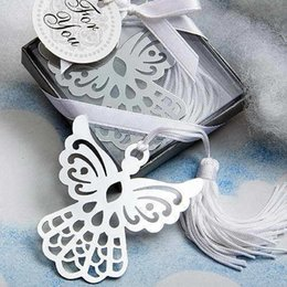 Wholesale Metal Box Favors For Wedding - Wholesale Lots 30pcs Gift Box + Silver Lovely Metal Angel Bookmark with tassel For Books wedding baby shower party favors gifts