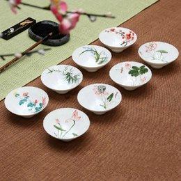 Wholesale Wholesale Antique Porcelain Plates - Wholesale-Chinese Style Antique Handpainted Ceramic Cup Small Bowl Relish plate Porcelain Teacup