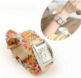 Wholesale Korea Rope - real photo korea belt rope braid women dress wristwatches 7 colors ladies knit bracelet woven watch rope cracked leather band