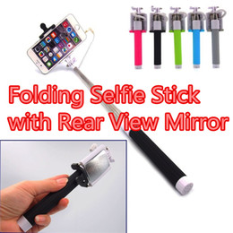 Wholesale Remote Control Viewing - Newest Extendable Handheld Wire Control Selfie Fold Monopod Tripod Stick With Remote For Phone With Rear View Mirror with retail pacakge
