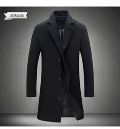 Wholesale Thick Leather Jackets - Wholesale- Fashionable Men Coats Coat Trench Striped Leather Jacket Male Long Cardigan Man British Mens Mainly Slim Flannel Shawl F20