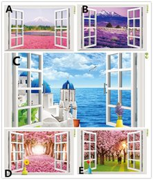 Wholesale Scenery Window Sticker - Natural scenery 3D Window Decal Home Decor Mediterranean Sea wall wallpaper Removable Wall Art Sticker