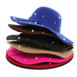 Wholesale Vintage Sun Visor - New Fashion Women Floppy Derby Bowler Hats Stylish All-match Lady Girls Soft Warm Sun Visor Caps Vintage Wholesale 5FMZ31