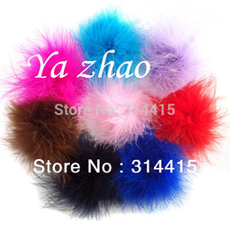 Wholesale Mixed Feathers For Hair - 3 ''-3 .5 ''Marabou Feather Puff ,Marabou Feather Flower For Headbands Children Headwear 48pcs  Lot 18 Color