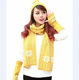 Wholesale Womens Knitted Hat Gloves - Wholesale-Warmer Winter Womens Chenille Snowflake Print Knit Ski Hat Gloves and Scarf Winter Set