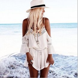 Wholesale Free Shipping Clothing Playsuit - Free Shipping toFashion Sexy Summer Woman Clothing White Skort Look Playsuit rompers Skyrise Playsuit Free Shipping