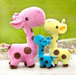 Wholesale 12 Animals Figurines - wholesale base color giraffes Fat baby doll Super plush toys of giraffe figurines super soft short plush toys 1517