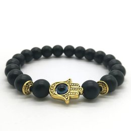 Wholesale Bead Bear - Cute Bear Brand Black Matte Bead Lava Stone Beaded Bracelet Women Fatima Hamsa Hand Bracelet Men Jewelry