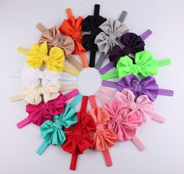 Wholesale Hairbands For Baby Girls - baby chiffon headbands for girls fashion hair bows kids boutique hair accessories children elastic hair bands big bowknot headwear wholesale