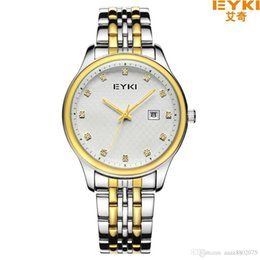 Wholesale Eyki Watch Steel Band - EYKI Brand Men Luxury Watch Stainless Steel Band Analog Date Quartz Watch Men Fashion Casual Business Lovers' Wristwatches