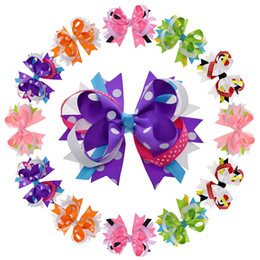"""Wholesale Fabric Hairpin - 12pcs 4 .5 """"-5 """"12cm Stacked Polka Dot Fabric Giant Hair Bow For Women Girls Hair Alligator Clip Flower Hair Accessories"""