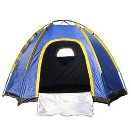 Wholesale Waterproof Pop Up Tents - Wholesale- Waterproof Hexagonal Large Camping Hiking Pop up Tent Outdoor Base Camp Blue Picnic Beach