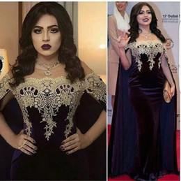 Wholesale Red Velvet Capes - Saudi Arabic Style Purple Velvet Evening Dresses with Cape Lace Formal Mermaid Celebrity Prom Dress 2017 Latest Party Gowns