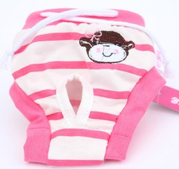 Wholesale Pet Stripe Pants - Heat Sell Stripe Embroidered Dog Teddy Pets Physiology Pants Lovely Sweet Princess Wind 2 Color Optional