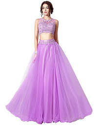 Wholesale Light Purple Wedding Gown Dress - Bridesmaid Dresses Sexy Maid of Honor Bridesmaid Tulle Light Purple Formal Floor-Length Wedding Gowns Sleeveless Party Two Pieces Prom Dress