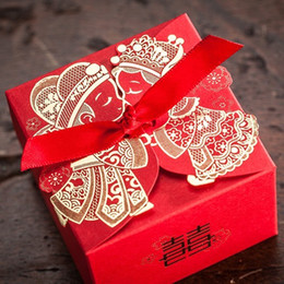 Wholesale Chinese Favor Boxes Cheap - Cheap Wedding Favor Boxeswith Ribbon Red Chinese Wedding Candy Box Casamento Wedding Favors And Gifts Boxes