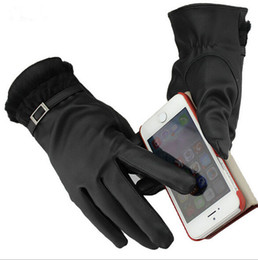 Wholesale Leather Gauntlet Gloves - EAST KNITTING 001 New Fashion 2014 Winter Women Gloves Leather Gloves Wool Touch Screen Gloves For Mobilephone Free shipping