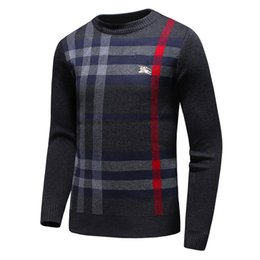 Wholesale Wool Sweater 3xl - Latest mon Winter Casual Sweater Brand Clothing Long Sleeve Men Sweaters classic Shirt Pullover O-Neck Knitwear lattice men Sweater