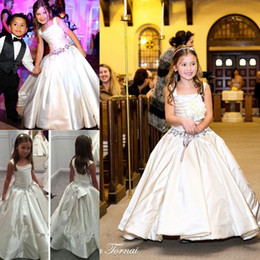 Wholesale Square Beads For Sale - 2015 Gorgeous Ivory Little Flower Girls' Dresses with Lace-up Back PNINA TORNAI Beaded Birthday Bridal Party Gowns For Weddings Sale Cheap