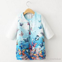 Wholesale Girls Printed Waistcoat - 2PCS Children Outwear 2016 New Clothes Baby Girl Printed Floral Princess Dobby Print Waistcoat Children Kids Girls Clothing