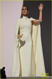 Wholesale Katy Perry Evening Dresses - 2015 57th Grammy Awards Katy Perry Red Carpet Celebrity Dresses High Neck Long Evening Dresses with Cape Formal Dresses Party Prom Dresses