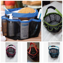 Wholesale Shower Wash - 8 Pocket Mesh Shower Caddy Tote Wash Bag Dorm Bathroom Caddy Organizer with 8 Basket Pockets Storage Package KKA3496